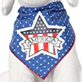 Tail Trends Dog Bandanas for 4th of July Stars and Stripes Applique Designs fits Medium to Large Sized Dogs - 100% Cotton