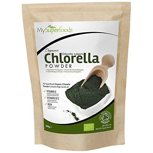 Bio Chlorella-Pulver (500g), MySuperFoods, unglaublich hoher Chlorophyllgehalt, Platzt mit Nährstoffen| Organisch zertifiziert, Gesunde essbare Alge, In Getränke und Smoothies hinzufügen