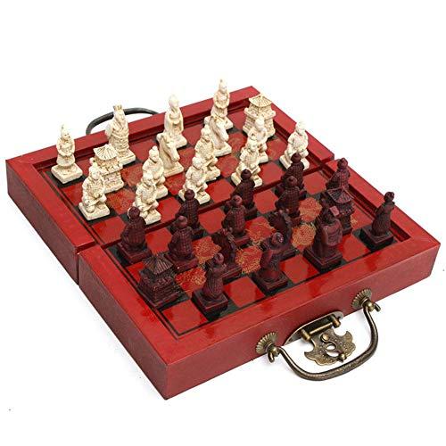 Faironly International Schachbrett, 32 Stück, Terra-Cotta Warriors Schachbrett, aus Holz, Square 200¡Á200MM