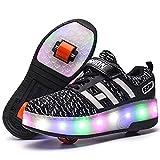 SHIXUE Clignotante Chaussures à roulettes, 7 Colorés LED Roller Chaussures de Skateboard Baskets Lumineuse avec Roues Sport Multisports Gymnastique Mode pour Garçons et Filles Enfants