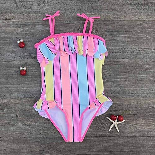 GUOZI Bikini Peuter Baby Meisjes Een Stuk Halter Badpakken Kinderen Gestreepte Badmode Hot Springs Draag Baby Meisje Strandkleding Kids Badpakken