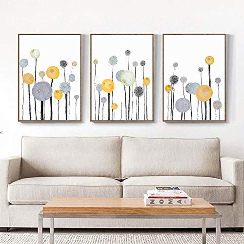 Gelb Grau Blumen Abstrakte Wandkunst Poster Leinwand Bilder Pflanze Minimalistisches Wandbild Wohnzimmer Modern Esszimmerdekoration 3St Rahmenlos-B2_50x70cmx3