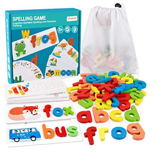 Coogam See Ortografia in Legno Giocattolo per l'apprendimento ABC Alfabeto Flash Cards Forma Corrispondente Lettera Giochi Montessori Preschool STEM Giocattoli educativi Regalo per Bambini Piccoli