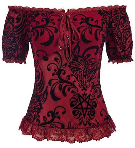 Damen Kurzarm Slim Fit Off Shoulder Crop Top Bluse Oberteil Figur Schmeichelndes Shirt Dunkelrot M