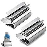 Ritte 2 Pezzi Rolling Tube Spremiagrumi Dentifricio, Rolling Tube Porta Dentifricio, Dispenser Dentifricio in Acciaio Inossidabile per Bagno