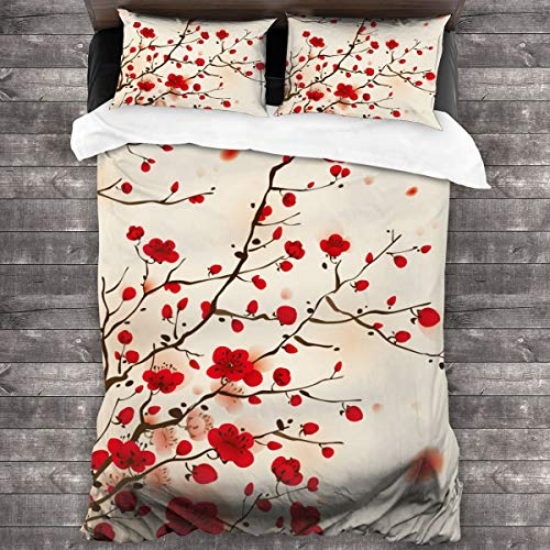 MAYUES Duvet cover bedding Set,Red Flower Oriental Style Painting Plum Blossom In Spring Tree Beauty Nature,3 Piece Set bedding with 2 pillowcases,Single(135 * 210cm)