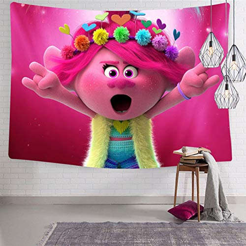 Melitolay Trolls-World-Tour Tapestries Fashion Interesting Durable 3D Print Wall Tapestry Window Tapestry 59.1 x 82.7 Inch