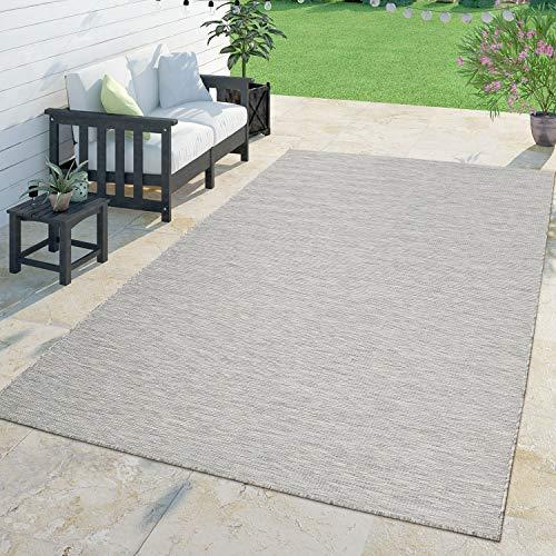 Moderner Outdoor Teppich Wetterfest Für Innen- Und Außenbereich Meliert Taupe, Größe:120x160 cm