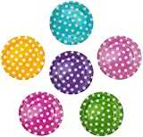 72 Pappteller Ø 23 cm - Bunt, gepunktet, rund, lebensmittelecht, beschichtet, je 12x blau, grün, gelb, pink, lila und rosa
