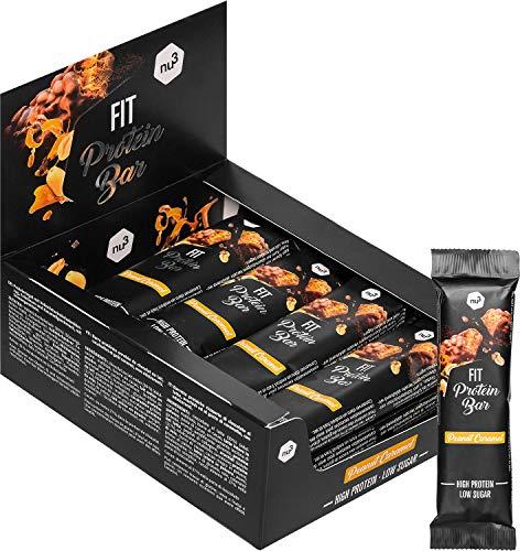 nu3 Fit Protein Bar – Peanut Caramel Geschmack - 32% Protein - 12 x 50g - High Proteinriegel – 16g Eiweiß pro Bar – ohne Konservierungsstoffe & Aspartam - nur 1,8 g Zucker je Riegel – mit Milchprotein