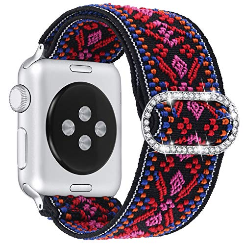 Dilando Compatible with Apple Watch Band Elastic Adjustable Stretchy 38mm/40mm Soft Nylon Strap Women Replacement Stylish Wristband Bracelet for iWatch SE Series 6/5/4/3/2/1 (AztecRed, 38mm/40mm)
