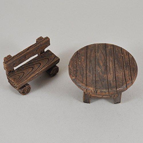 Fairy Garden UK Mini banc et table de jardin miniature en bois – Idée de cadeau magique – Hauteur : 15 cm