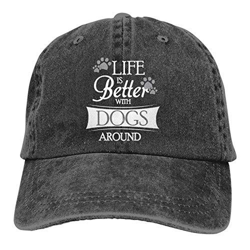 Jopath Das Leben ist Besser mit Hunden um personalisierte Cowboyhut mit verstellbaren Sonnenschutz-Hundepfoten