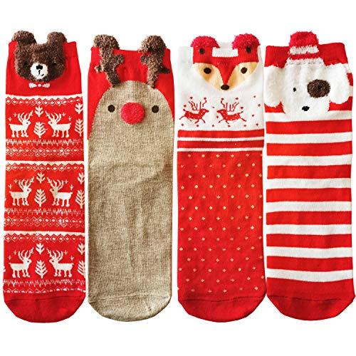 4 Pairs Unisex Merry Christmas Winter Socks, Rudolf Fox Dog Bear Set, Novelty Socks For Men Women Kids
