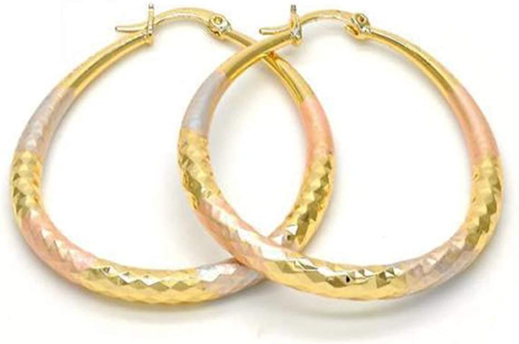 Women's 4mm Real 14K Tri Color Gold Filled Big Tear Drop Small Medium Large Extra Large 30-85mm Diamond Cut Oval Shaped Lightweight Hallow Hoop Earrings
