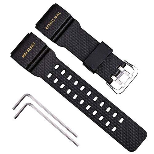 OliBoPo Correa de reloj de repuesto de resina natural para hombre Casio G-Shock Master of G Mudmaster Twin Sensor Sports Watch GG-1000/GWG-100/GSG-100