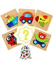 IMMEK Speelgoed voor baby's, houten puzzel voor kinderen en kinderen, 1 jaar, 2 3 4 5 jaar, Montessori, educatieve spellen, 3D-dieren en voertuigen, 5 delen + 1 willekeurig patroon