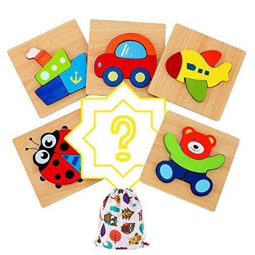 Darsen Juguetes Bebes Puzzle de Madera para Niños y Niños 1 Año 2 3 4 5 Años Montessori Educativos Rompecabezas Juegos Regalos Aprendizaje 3D Animales y Vehículos 5 Piezas + 1 Patrón Aleatorio