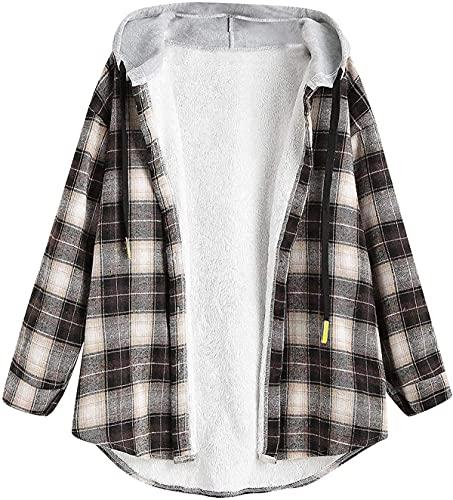 Kvinnors avslappnade flanell rutiga skjortjackor Button-up Hoodie-rockar plyschfodrad varm jacka Långärmade tröjor Toppar
