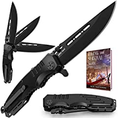 KNIFE WITH FOLDING SPRING ASSISTED OPENING BLADE AND POCKET CLIP has a simple and reliable liner-lock that is resistant to dirt and prevents unexpected closure. Equipped with the thumb studs for right and left hand use. PERFECT TACTICAL KNIFE FOR EVE...