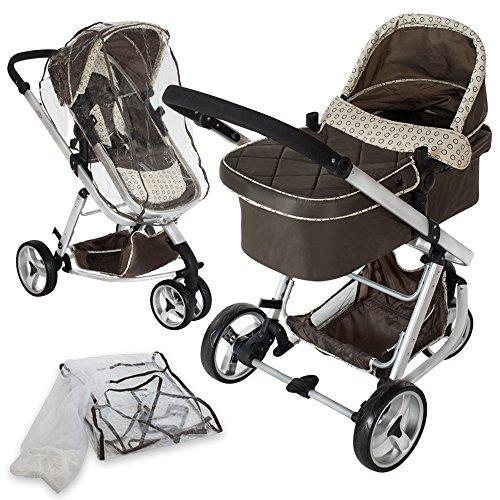TecTake 3 en 1 Poussette Canne de Voyage Voiture d'Enfants Baby Confort Jogger - diverses couleurs au choix - (Marron)