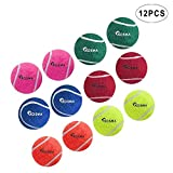 Kosma Juego de 12 pelotas de tenis para mascotas | Pelota de juguete para perro | Juguete para entrenamiento de mascotas - en colores vibrantes con bolsa de transporte de malla
