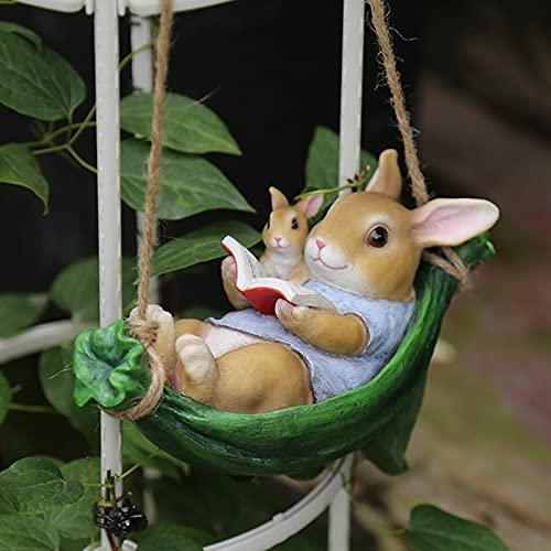 ZKLNB Columpio De Jardín Decoraciones De Conejos Colgantes Al Aire Libre, Resina De Animales De Dibujos Animados Estatuas Al Aire Libre Jardín Colgantes De Árboles Al Aire Libre Se Pueden,Rabbit