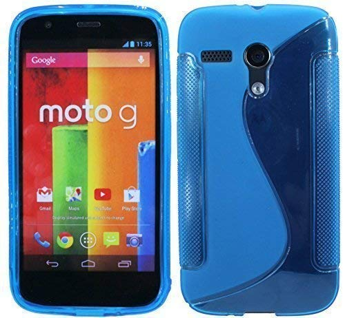 ENERGMiX Silikon Hülle kompatibel mit Motorola Moto G (1.Gen.) Schutzhülle Case Cover Gel in Blau
