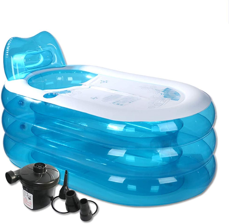 Zhanyi Aufblasbare Badewanne, Badekurort-Badewanne verdicken Faltbare aufblasbare Duschbadewanne für erwachsenes Starkes PVC mit der elektrischen blauen Luftpumpe (gre   150cm)