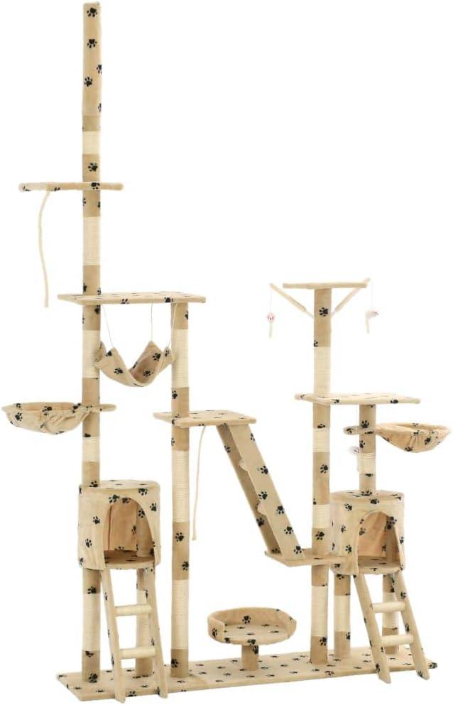 pedkit Rascador para Gatos /Árbol Escalador ara/ñar Juguete para Mascotas Rascador para Gatos Poste rascador de sisal 125cm Huellas Beige