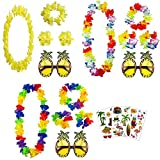 Cozywind 3 juegos Collares de Flores Hawaianos + 3pcs Gafas de Sol de Piña +3pcs Pegatinas de Tatuajes para Fiesta Temática en la Playa