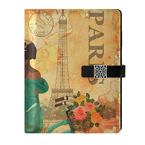 Cuaderno de cuero para diario, cuaderno de viaje, París, vintage, rellenable, tamaño A5, cuaderno de tapa dura, regalo para mujeres y hombres