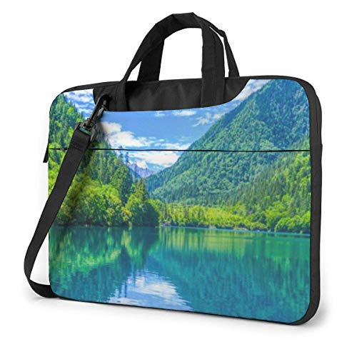 Green Hills And Water Unisex Laptop Bag Messenger Shoulder Bag For Computer Briefcase Carrying Sleeve