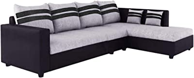 Furny Clarion RHS 6 Seater L Shape Sofa Set (Grey-Black)