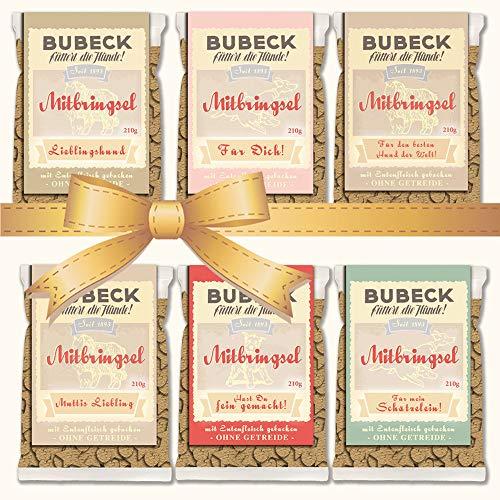 seit 1893 Bubeck Hundeleckerli getreidefrei | mit Ente & Kartoffel | Hundekekse für futtersensible Hunde | 6 x 210g | Belohnung für Hunde