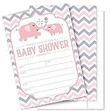 Pink Elephant Baby Shower Invitations - 25...