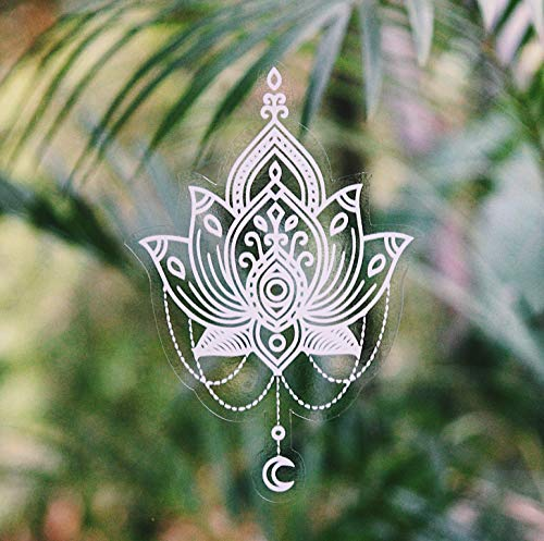 Gypsy Dreaming Beautiful Hand Designed Mandala Sticker Decal White Lotus Flower - 6.5' Tall Vinyl - Waterproof, Suitable for Outdoors, car Windows, ipads, Laptops, Water Bottles. Made in USA