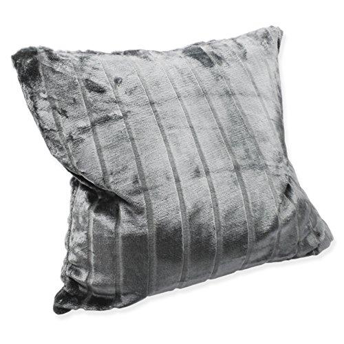 Haus & Deko Weiche Cashmere Touch Kissenhülle Kissenbezug ca. 40x40 cm Dekokissen flauschig in Streifen Nerz Fell Optik Silber Grau