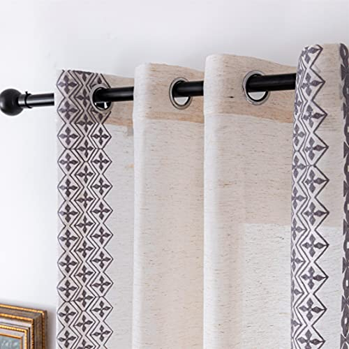 SEEKRIGHT Boho Linen Curtains Grey - Bohemian Vintage Linen Embroidered Sheer Curtains 84 Inch Length for Farmhouse - Flax Fabric Curtains for Living Room, Set 2 Panels