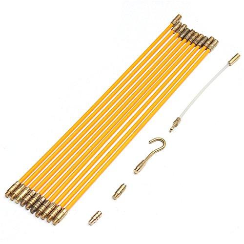 RanDal 10Pcs 1Mx4Mm Cable de fibra de vidrio Extractor de empuje Cable de corriente Kit de cable Cable eléctrico Varilla de instalación