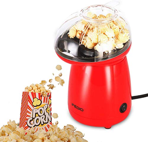 iFedio Hot Air Popper Popcorn Maker with 20 Bags, 1200W No Oil Needed and Removable Lid to Popping Corn Kernels with Melt Butter Easy to Clean for Family Gathering (Red)
