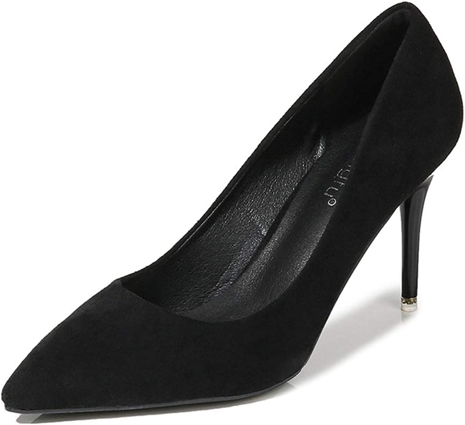 Sam Carle Womens Formal Pumps,High Thin Heel Fashion Sexy Black Suede Leather Work shoes