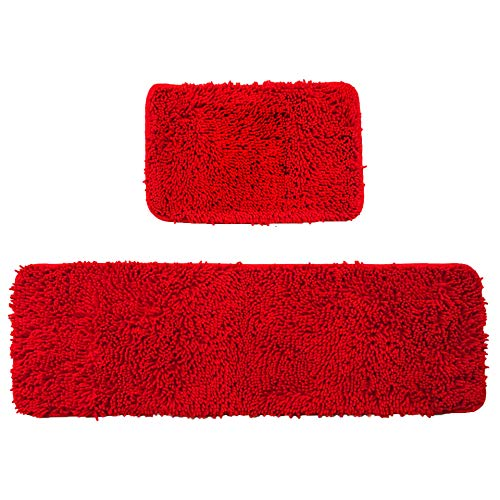 Wolala Home 2 pcs Sets Strong Absorbent Non-Slip Kitchen Rug and Carpet Super Soft Chenille Shaggy Latex Backing Solid Home Decorator Small Floor Mats (16''x24''+16''x47'', Red)