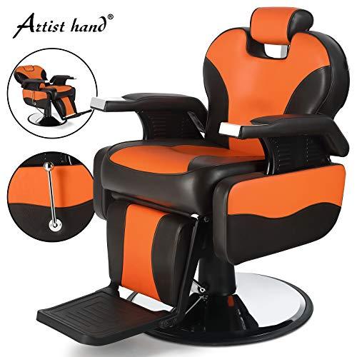 Artist Hand Barber Chair Hydraulic Reclining Barber Chairs Heavy Duty Salon Chair for Hair Stylist Tattoo Chair Salon Equipment (Yellow,Brown)