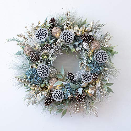 Darby Creek Trading Blue Christmas Hydrangea, Silver Lotus Pod, & Mixed Snowy Holiday Greens Front Door Christmas Wreath - with Pre Lit or Unlit Option