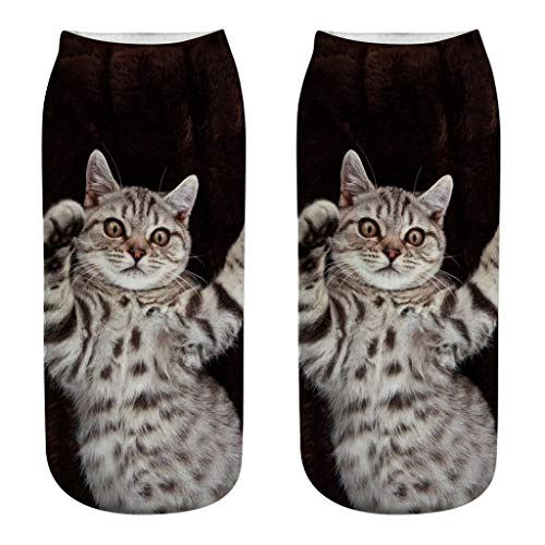jieGorge Women 3D Novelty Crazy Funny Cat Ankle Socks Cute Colorful Cartoon Low Cut Socks, Socks, Clothing Shoes & Accessories (F)