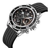腕時計、メンズ腕時計 ブラック スポーツ ファッション クロノグラフ 多機能 日付表示 防水 アウトドア アナログクォーツ 時計 天然シリコーンバンド