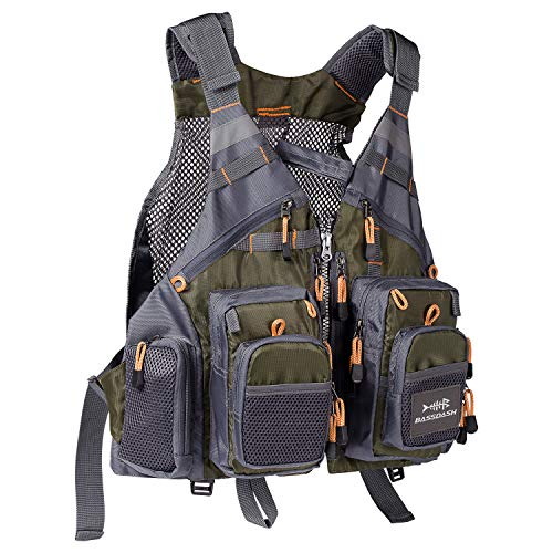 Bassdash Fly Fishing Vest Multi Pocket Waistcoat Adjustable Size for Men Women (Style Three - Army Green)
