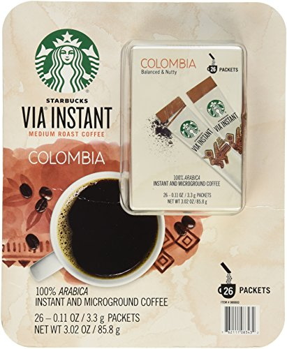 Starbucks Via Instant Medium Roast Colombia Coffee, 26Count
