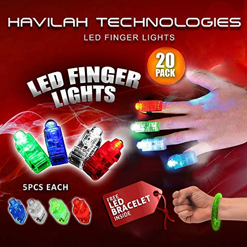 HAVILAH TECHNOLOGIES 20pcs Super brillante LED dedo luces linterna del dedo se enciende Juguetes favor favor de partido (color mezclado)